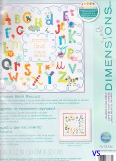 Dimensions Counted Cross Stitch Kit 12 x 12 Birth Record Alphabet