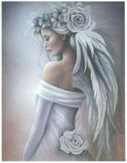 Jessica Galbreth Forgiveness Angel Print 5x7 Feather Wings Lavender
