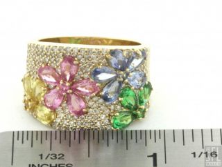Effy 14k Gold 3 80ctw Diamond Rainbow Sapphire Flower Cocktail Ring