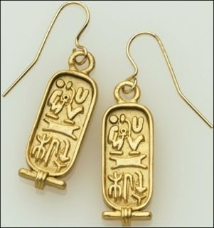 Egyptian Jewelry HIEROGLYPH Earrings 1 24K Gold Plate