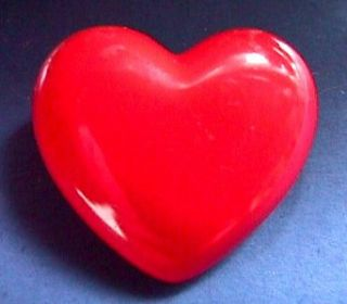 Pin Valentines Day Heart Red Puffed Brooch Vtg Jewelry Holiday