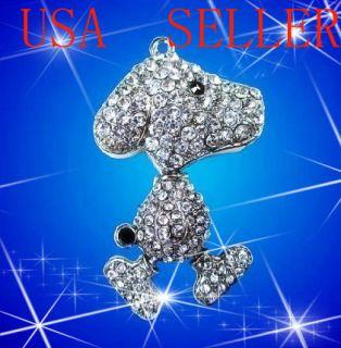 GB Crystal Jewelry Snoopy Pendant USB Flash Drive Memory Stickthumb