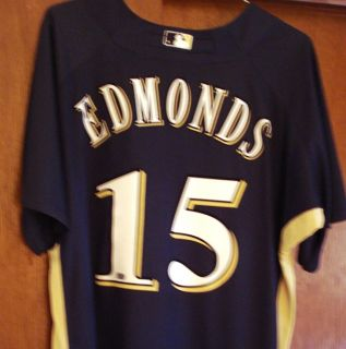 Jim Edmonds Game Use Brewers 15 BP with MLB COA Cardinals Angels Reds