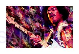 Jimi Hendrix Painting Canvas Rock Concert Art Poster
