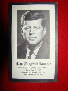 JFK John F Kennedy memorabilia paper prayer card from funeral
