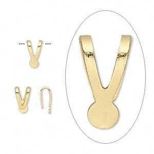 100 Gold Plated Pendant Bails Flat Backed Y Style