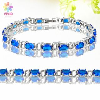 Fashion Jewelry Lady Gift Blue Sapphire Gold GP Tennis Bracelet Hand