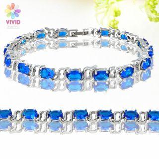 Fashion Jewelry Lady Gift Blue Sapphire Gold GP Tennis Bracelet Hand