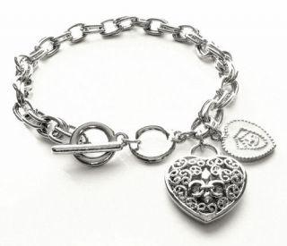Fleur de Lis Hot Heart Charm Toggle Bracelet