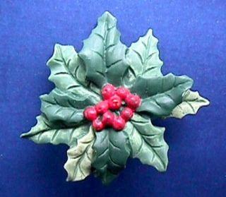 Hallmark PIN Christmas HOLLY & BERRIES Vtg XMas Jewelry Holiday Brooch