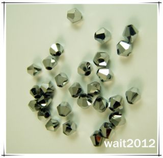 free Jewelry Making 200pcs 5301 silver plate CRYSTALS BEADS COLOR 4MM