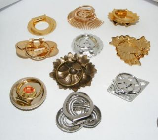 Vintage Scarf Clips Pins Brooches Costume Jewelry Scarves Lot 2