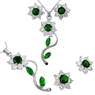 Gift Jewelry Set Green Emerald 18K Gold Plated Pendant Earrings for