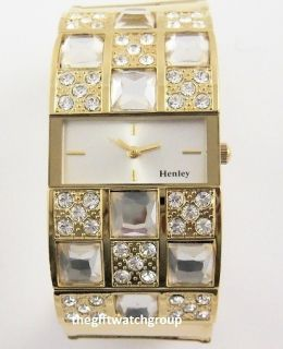 Real Crystal Gold Tone Wide Watch or Watch Bangle Xmas Gift Set