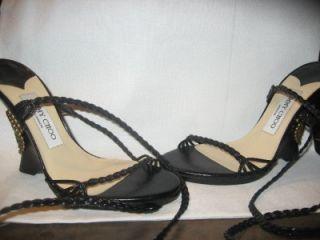 Jimmy Choo Geisha Lace Up Wedge Sandal Shoes Black 36 6