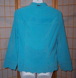 St John Sport Marie Gray 2 PC Aqua Skirt Suit Flower Cutouts