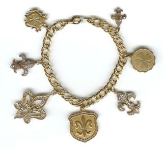 Fleur de Lis Lys Catherine Popesco Charm Bracelet Gold