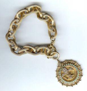 Fleur de Lis Catherine Popesco Charm Bracelet Gold New