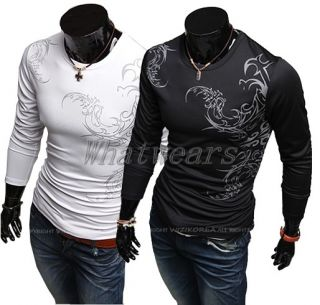JJ Mens Fit Personality Tee Tattoo Design T Shirt Long Sleeve Tops