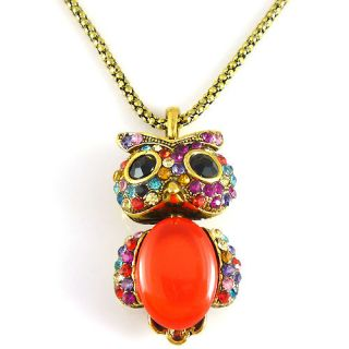 Fashion Charm Jewelry Colorful Owl Crystal Necklace Pendant