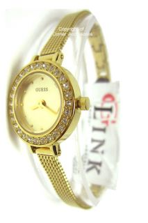U96013L1 New Guess Ladies Gold Mesh Band Round Dial Crystals Watch