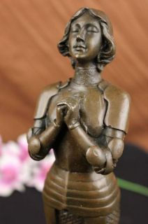 Signed Bronze Statue Joan of Arc Saint French Heroine