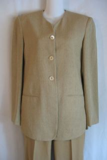 Joan and David Beige Textured Wool Blend Fitted Blazer Jacket Size 4