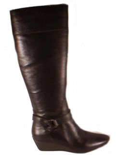 Circa Joan & David Yvet Dark Brown Womens Leather Knee High Wedge