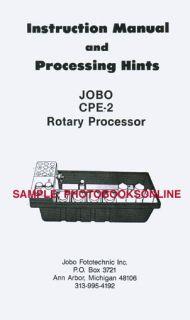 Jobo CPE 2 Rotary Processor Instruction Manual