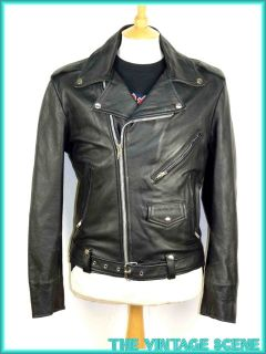 Mens Unisex Vintage Black Leather Biker Perfecto Style Zip Jacket