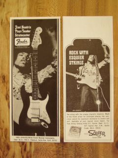 Jimi Hendrix Fender Stratocaster Guitar Ad 2 Ads 1968