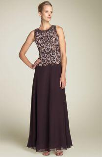 NWT J Kara Beaded Mock Two Piece Chiffon Gown Brown/Champagne/Copper