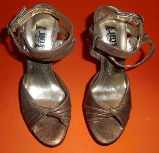 JLO Jennifer Lopez Antique Bronze Peep Toe Platform Shoes Size 6 1 2M