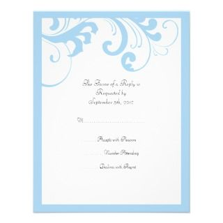 Sky Blue and White Swirls Frame Wedding RSVP Custom Invitations