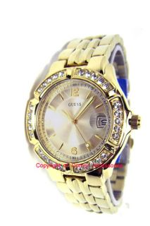 New Guess Ladies Gold Tone Bubble Crystals U85110L1 Watch