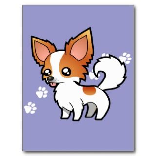 Cartoon Chihuahua (red parti long coat) Post Card