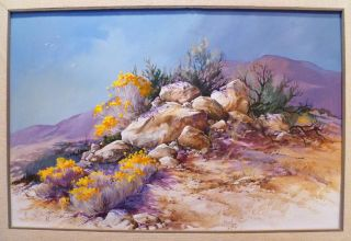 Mimi Jobe Desert Bloom Large 1970s Nevada Painting Listed Artist