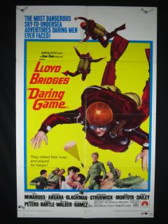 Daring Game 1968 Poster Lloyd Bridges Sky Diving Drama VG FN
