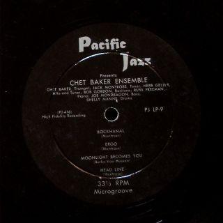Chet Baker Ensemble LP Pacific Jazz PJLP 9 Orig US 1954 Jazz Mono Jack