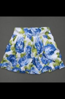 NEW Abercrombie Fitch Joanna Blue White Floral Mini Skirt Womens XS or