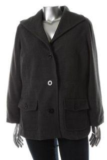 JM Collection New Gray Heathered Long Sleeve Plush Jacket Coat Plus 3X