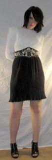 Vintage 80s Trophy Dress Sequined Ruched Black White Belted Disco Sz 6