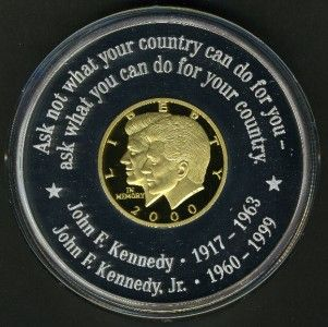 LIBERIA 2000 JOHN KENNEDY ANF JOHN JR. GOLD AND SILVER COIN 300 MINTED