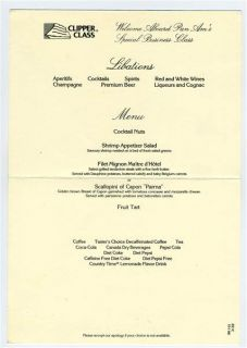 Pan American Clipper Class Menu Lockheed 1011 First Flight 1986
