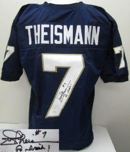 Joe Theismann Signed Notre Dame Custom Blue Jersey Go Irish JSA