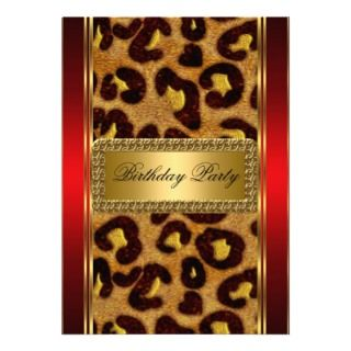 Gold Leopard and Red Art Deco Invitation
