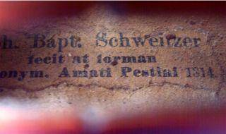 Fine old violin labeled Johann Baptist Schweitzer .