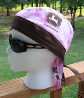 John Deere Pink Ladies do Rag Skull Cap Bandana Biker