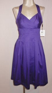 Calvin Klein Purple Stretch Cotton Surplice Halter Casual Sun Dress 12