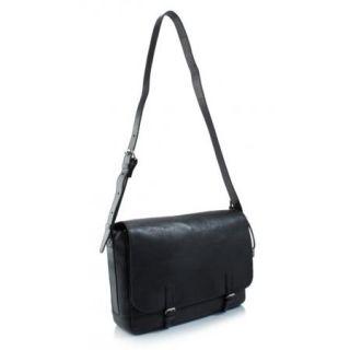 NEW John Varvatos Black Italian Cheyenne 100% Leather Messenger Bag